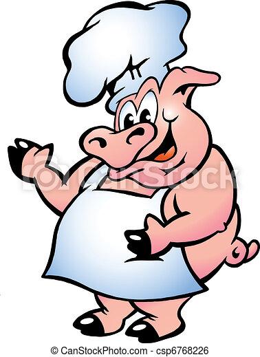 廚師, 穿, 豬, 圍裙 - csp6768226