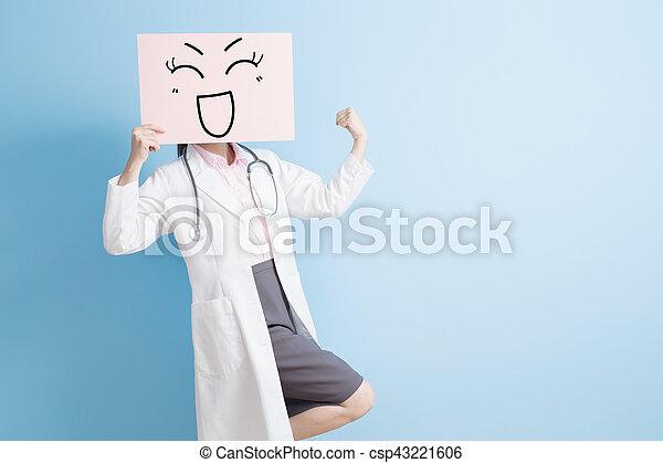 廣告欄, 婦女, 拿, 醫生 - csp43221606