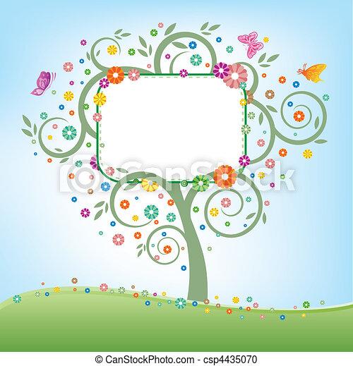 廣告欄, 樹 - csp4435070