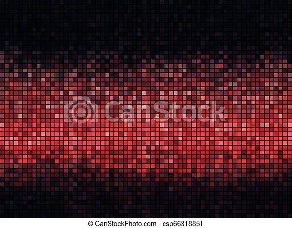 廣場, 光, 摘要, 迪斯科, 背景。, 紅色, 象素, 馬賽克 - csp66318851