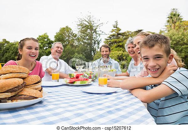 延長, ピクニック, 家族の夕食, 屋外で, テーブル, 持つこと - csp15207612