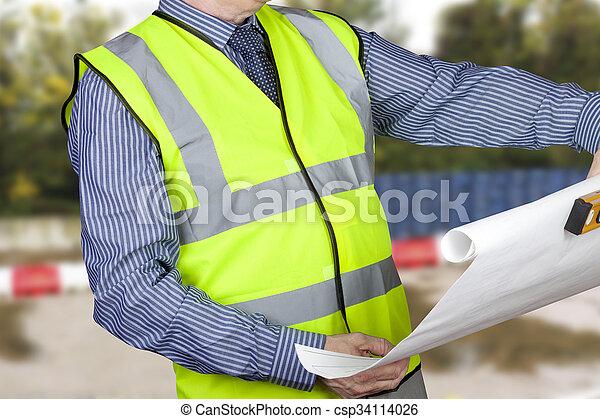 建物は 計画する, レベル, 点検, サイト, 測量技師, vis, やあ、こんにちは, 保有物, 精神 - csp34114026