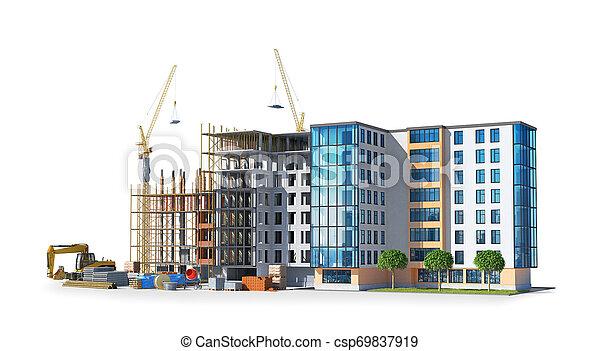建物構造, construction., イラスト, 3d - csp69837919