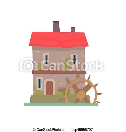 建物石 古代 古い 車輪 木製の家 イラスト 水 ベクトル 建築