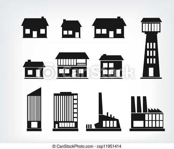 建物, アイコン - csp11951414