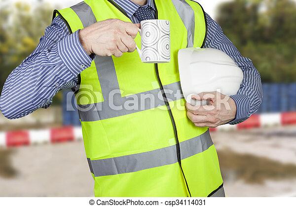 建物, コーヒー, 測量技師, 懸命に, 壊れなさい, vis, やあ、こんにちはハット, 持つこと - csp34114031