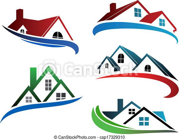 建物, シンボル, 屋根, 家 - csp17329310