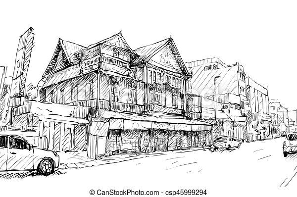 建物, スケッチ, 古い, ショー, 通り, アジア, ベクトル, イラスト, 都市の景観, タイ, スタイル - csp45999294