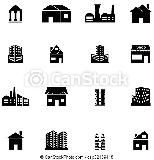 建物, セット, アイコン - csp52189418