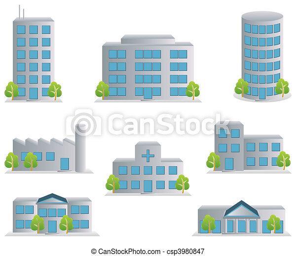 建物, セット, アイコン - csp3980847