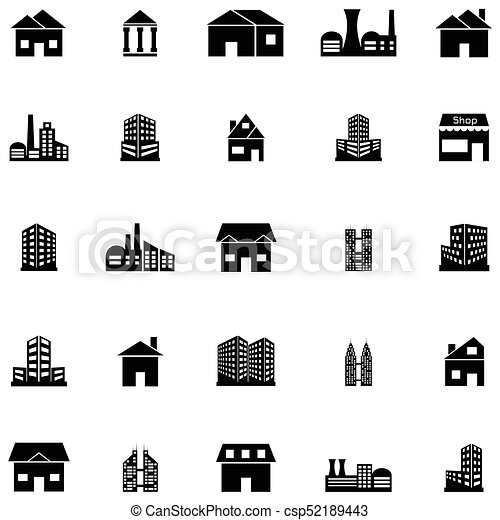 建物, セット, アイコン - csp52189443