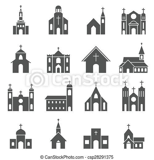 建物, セット, 教会, ベクトル, アイコン - csp28291375