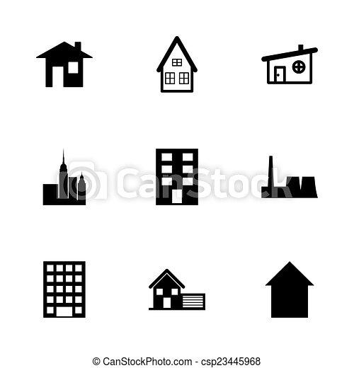 建物, セット, 黒, ベクトル, アイコン - csp23445968