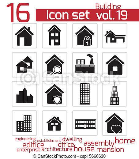 建物, セット, 黒, ベクトル, アイコン - csp15660630