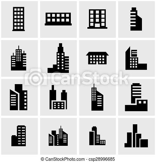 建物, セット, 黒, ベクトル, アイコン - csp28996685