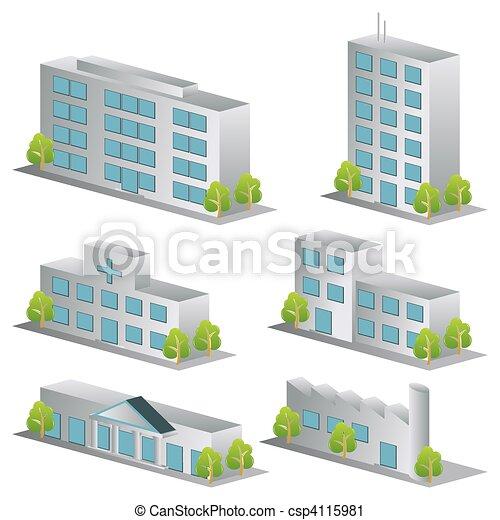 建物, セット, 3d, アイコン - csp4115981
