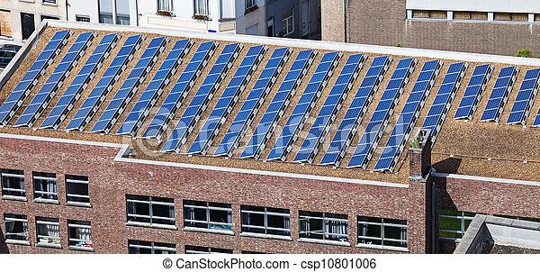 建物, パネル, 太陽, 屋根 - csp10801006