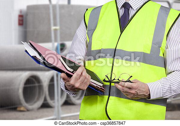 建物, フォルダー, ベスト, 仕事場, 視界, 高く, 測量技師, 届く - csp36857847
