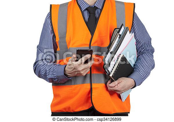 建物, フォルダー, ベスト, 電話, 視界, 測量技師, 届く, オレンジ - csp34126899