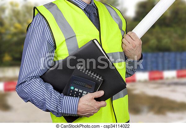 建物, フォルダー, vis, 計算機, 仕事, 測量技師, 届く, やあ、こんにちは - csp34114022