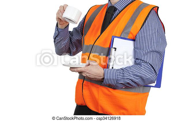 建物, ベスト, お茶, 視界, 壊れなさい, 測量技師, オレンジ, 持つこと - csp34126918