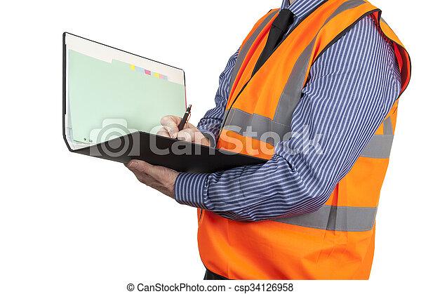 建物, ベスト, サイト, 視界, 執筆, 測量技師, オレンジ, フォルダー - csp34126958