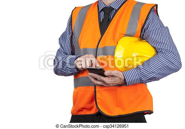 建物, ベスト, 彼の, 視界, 測量技師, smartphone, オレンジ, 使うこと - csp34126951