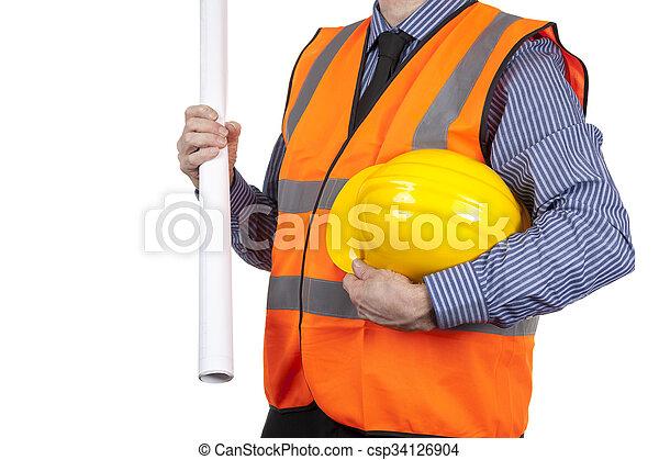 建物, ベスト, 懸命に, 視界, 測量技師, 届く, 黄色, オレンジ, 帽子 - csp34126904