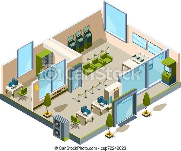 建物, マネージャー, isometric., オフィススペース, 現代, poly, ロビー, 銀行業, ベクトル, 部屋, 低い, 内部, 開いた, サービス, 銀行, 3d - csp72242623