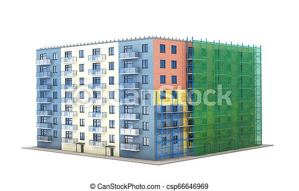 建物, 住宅の, 森林, イラスト, 建設, 緑, 断熱材, grid., 3d - csp66646969