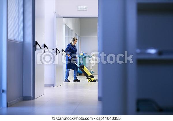建物, 女, 洗浄, 床, 仕事, お手伝い, 産業, 清掃, 専門家, 機械類 - csp11848355