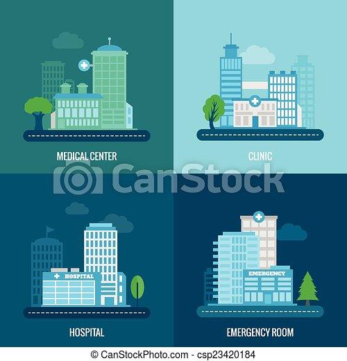 建物, 平ら, 医学 - csp23420184