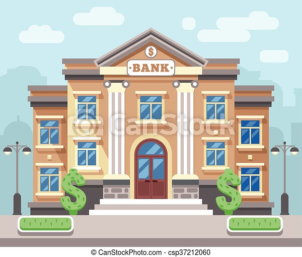 建物, 平ら, 概念, 金融, ビジネス, ベクトル, cityscape., 銀行 - csp37212060