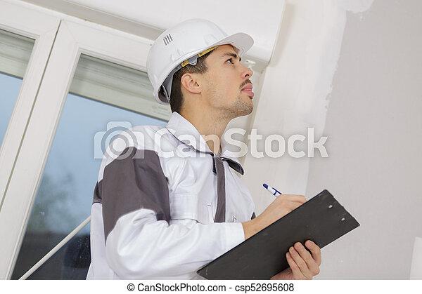 建物, 彼の, サイト, 執筆, 測量技師, クリップボード, 建設 - csp52695608