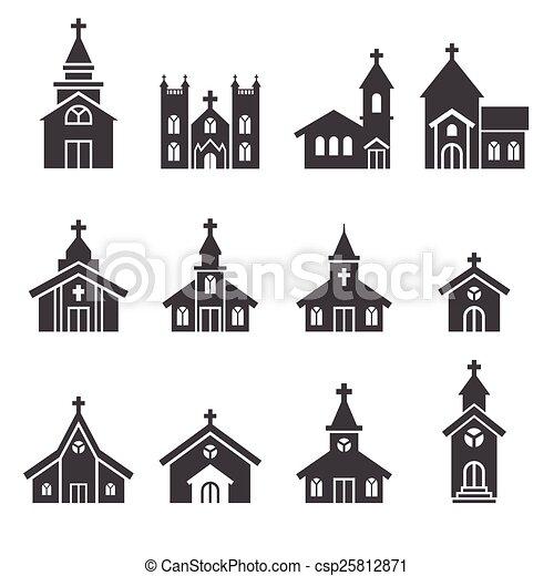 建物, 教会, アイコン - csp25812871