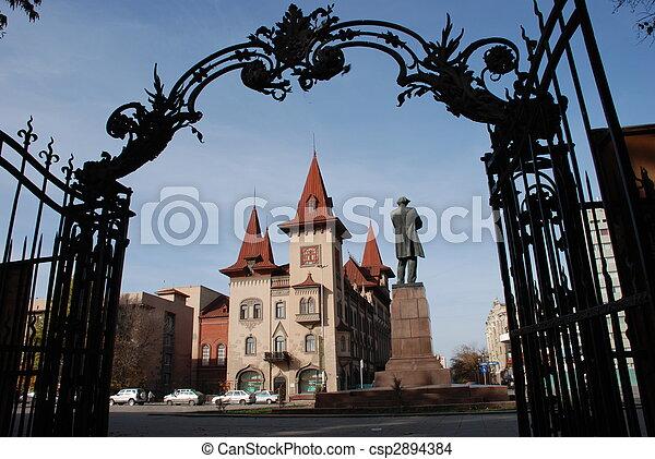 建物, 温室, 名前をつけられた, 後で, leonid, 作家, nikolai, sobinov, 州, 哲学者, 記念碑, chernyshevsky, saratov - csp2894384