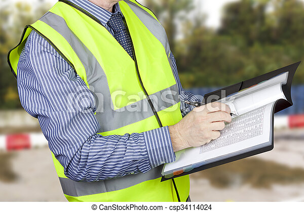 建物, 測量技師, 点検, サイト, vis, やあ、こんにちは, フォルダー, データ - csp34114024