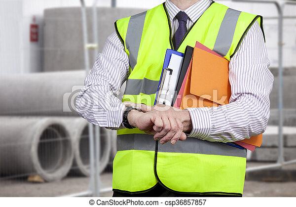 建物, 点検, サイト, 視界, 高く, 測量技師, 時間 - csp36857857
