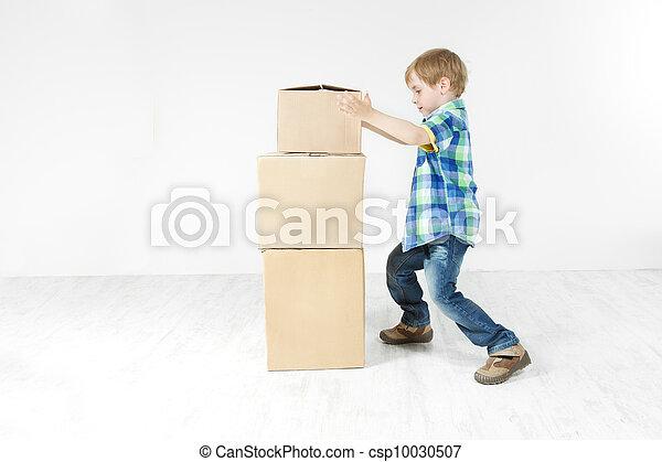 建物, 男の子, ピラミッド, move., concept., boxes., の上, パッキング, 成長, カートン - csp10030507
