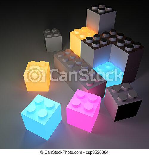 建物, 白熱, ブロック - csp3528364