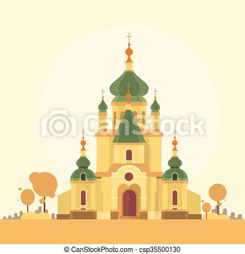 建物 秋 背景 教会 光景 チャペル 建物 平ら イラスト 秋 背景
