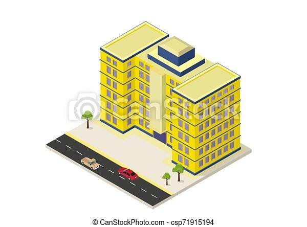 建物, 等大, 現代, アイコン - csp71915194