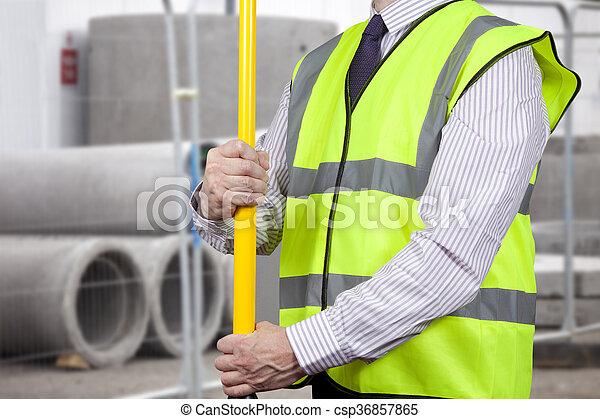 建物, 調節, 三脚, 高く, 測量技師, 視界, 立ちなさい - csp36857865