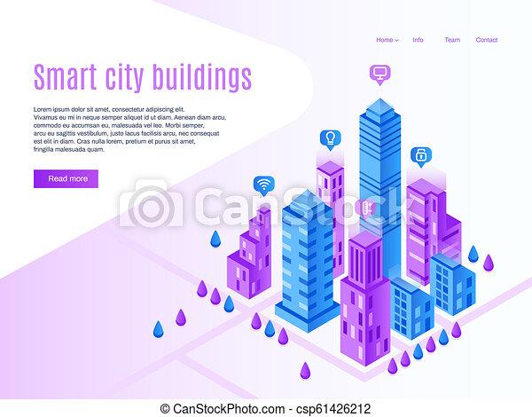 建物, 都市, ページ, 建物。, 都市, town., 等大, イラスト, 高く, ベクトル, 技術, 着陸, 都市の景観, 理性的, 未来派, 痛みなさい - csp61426212