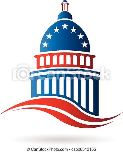 建物, 青, 国会議事堂, 赤い白 - csp26542155