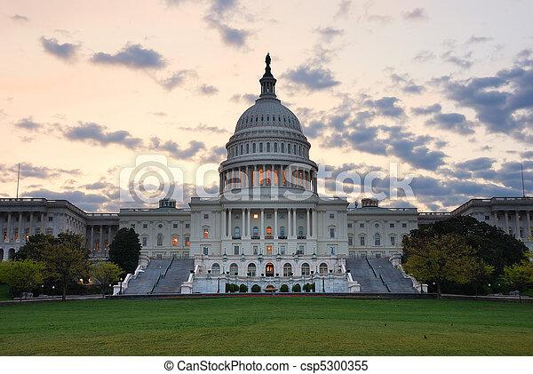建物, dc., 国会議事堂, カラフルである, ワシントン, 朝, クローズアップ, 丘, 雲 - csp5300355
