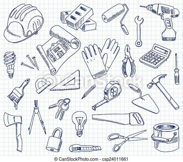 建物, freehand, 材料, 図画 - csp24011661