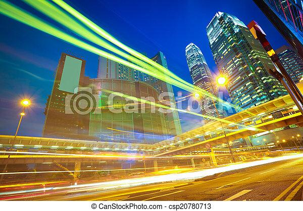 建物, tra, ライト, 現代, 背景, hongkong, ランドマーク, 道 - csp20780713