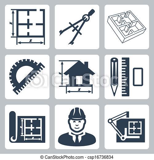 建筑物, 包围, 设计者, 图标, 布局, 统治者, 蓝图, 矢量, 设计, 量角器, set:, 对, 橡皮擦, 图, 铅笔, 板 - csp16736834