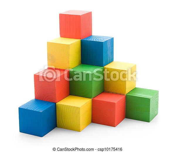 建筑物, 木制, 金字塔, 彩色, 立方 - csp10175416
